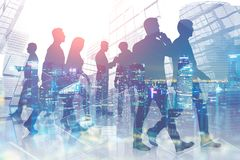 Business people in night city royalty free illustration