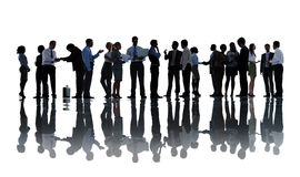 Silhouettes of Business People Working Stock Image