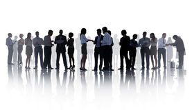 Silhouettes of Business People Working Stock Photos
