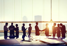Silhouettes of Business People Working Stock Images