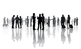 Silhouettes of Business People Working Royalty Free Stock Photography
