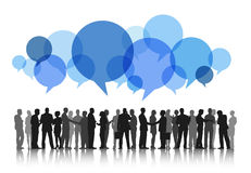 Silhouettes of Business People Working and Speech Bubbles Royalty Free Stock Images