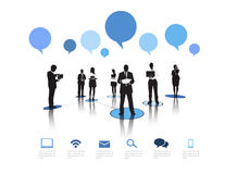 Silhouettes Business People Working Speech Bubbles Concept Royalty Free Stock Photography