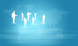 Silhouettes of business people and world map. Silhouettes of business people. World map as backdrop Royalty Free Stock Image