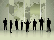 Silhouettes of business people with world map conference concept. I have created silhouettes of business people with world map conference concept stock illustration