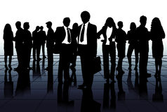 Silhouettes of the business team Stock Photos