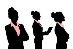 Silhouettes of Business woman Stock Photos