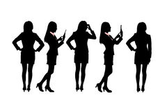 Silhouettes of Business women Stock Photography