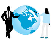 Silhouettes of businessman and Royalty Free Stock Photos