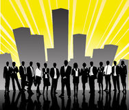 Silhouettes of businessmen against the city Royalty Free Stock Photos