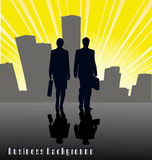 Silhouettes of businessmen against the city Royalty Free Stock Image