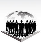 Silhouettes of businessmen on a chessboard Stock Image