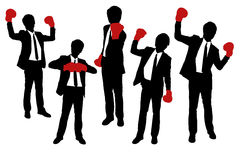 Silhouettes of Businessmen wearing boxing gloves. In a victory pose Stock Image