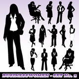 Silhouettes of Businesswomen. Vector illustration representing fourteen highly detailed silhouettes of businesswomen Royalty Free Stock Photos