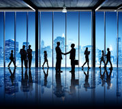 Silhouettes Of Busy Business People Stock Image