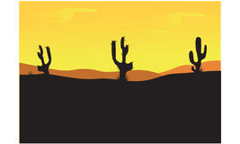 Silhouettes of cactus at the afternoon Royalty Free Stock Images