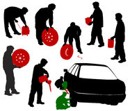 Silhouettes of car mechanics. Change the wheels, a mechanic with the battery canister, a wheel, a gasoline generator royalty free illustration