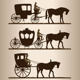 Silhouettes of the carriages Stock Photos