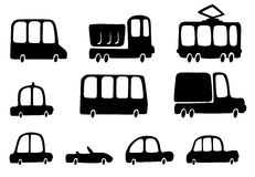 Silhouettes cars. Fun silhouettes cars for design Stock Illustration