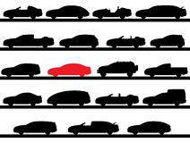 Silhouettes of cars Stock Photo