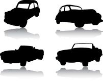 Silhouettes of cars, motorcycles and buses Royalty Free Stock Images