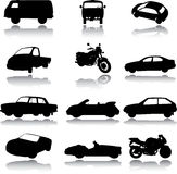 Silhouettes of cars, motorcycles and buses Stock Photos
