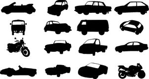 Silhouettes of cars, motorcycles and buses Royalty Free Stock Image