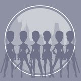 Silhouettes of cartoon women in sexy clothes imitating soldiers of the royal guard. On the background of a circle Stock Photos
