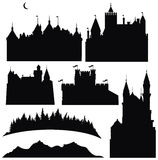 Silhouettes of castles and elements for design Royalty Free Stock Images