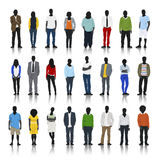 Silhouettes of Casual People in a Row Royalty Free Stock Photo