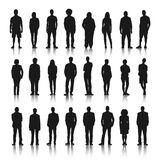 Silhouettes of Casual People in a Row Royalty Free Stock Image