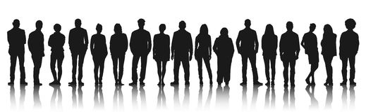 Silhouettes of Casual People in a Row Concept Stock Image