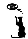 Silhouettes of cat. The silhouette of a black cat which dreams of fish Vector Illustration