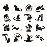 Silhouettes of cat. Author\\\\\\\'s illustration in Stock Images