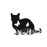 Silhouettes of cat with butterflies Stock Image