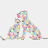 Silhouettes of cat and dog patterned in colored paws. Silhouettes of dog and cat patterned in colored paws Stock Photos
