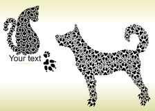 Silhouettes of cat and dog from tracks Stock Photography