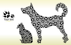Silhouettes of cat and dog from tracks Royalty Free Stock Images