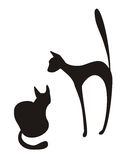 Silhouettes of cats. Two silhouettes of cats on a white background Stock Image