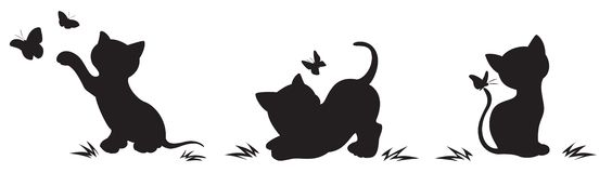 Silhouettes of cats with butterflies Stock Photography