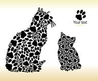 Silhouettes of cats from cat tracks Stock Photos