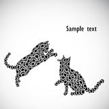 Silhouettes of cats from the cat tracks Royalty Free Stock Image