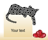 Silhouettes of cats with hearts. Valentine day`s card Royalty Free Stock Photos