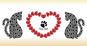 Silhouettes of cats with hearts. Valentine day`s card Royalty Free Stock Photography