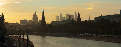 Silhouettes of central Moscow stock photography