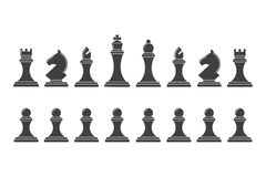 Silhouettes of chess pieces Stock Photo