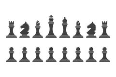 Silhouettes of chess pieces. Icons of the chess king, queen, bishop, knight, rook and pawn. Team of classical chess on a white background Royalty Free Stock Photos