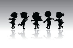 Silhouettes children Royalty Free Stock Photography
