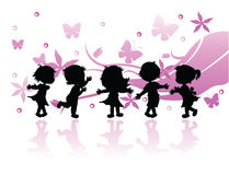 Silhouettes children Royalty Free Stock Image