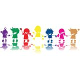 Silhouettes of children. In colors and races holding hands Royalty Free Stock Photos
